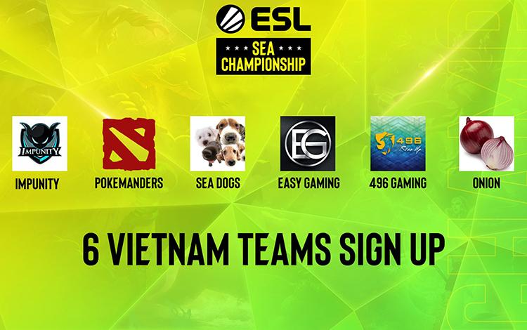Dota 2 Việt Nam với 6 đại diện tham gia tranh tài tại vòng sơ loại ESL SEA Championship