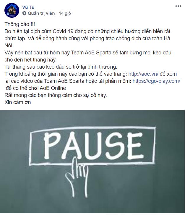 thong - bao - cua - quan - li - team - aoe - sparta - ve - viec - cho - game - thu - nghi - het - thang 3