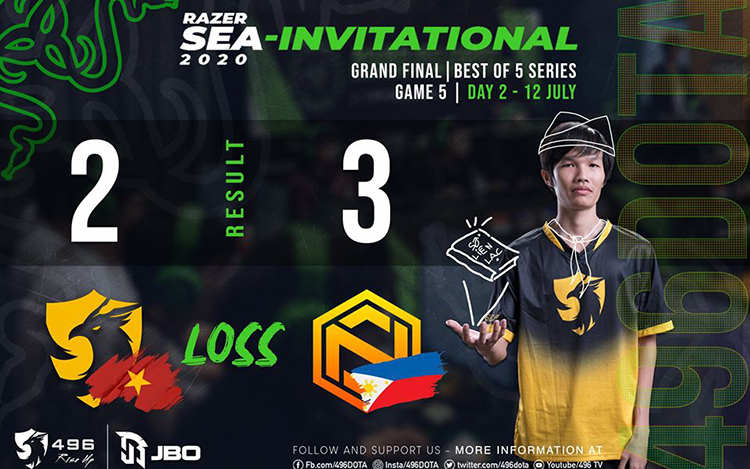 Gục ngã trước những người Philippines, 496 Gaming về nhì tại Razer SEA Invitational