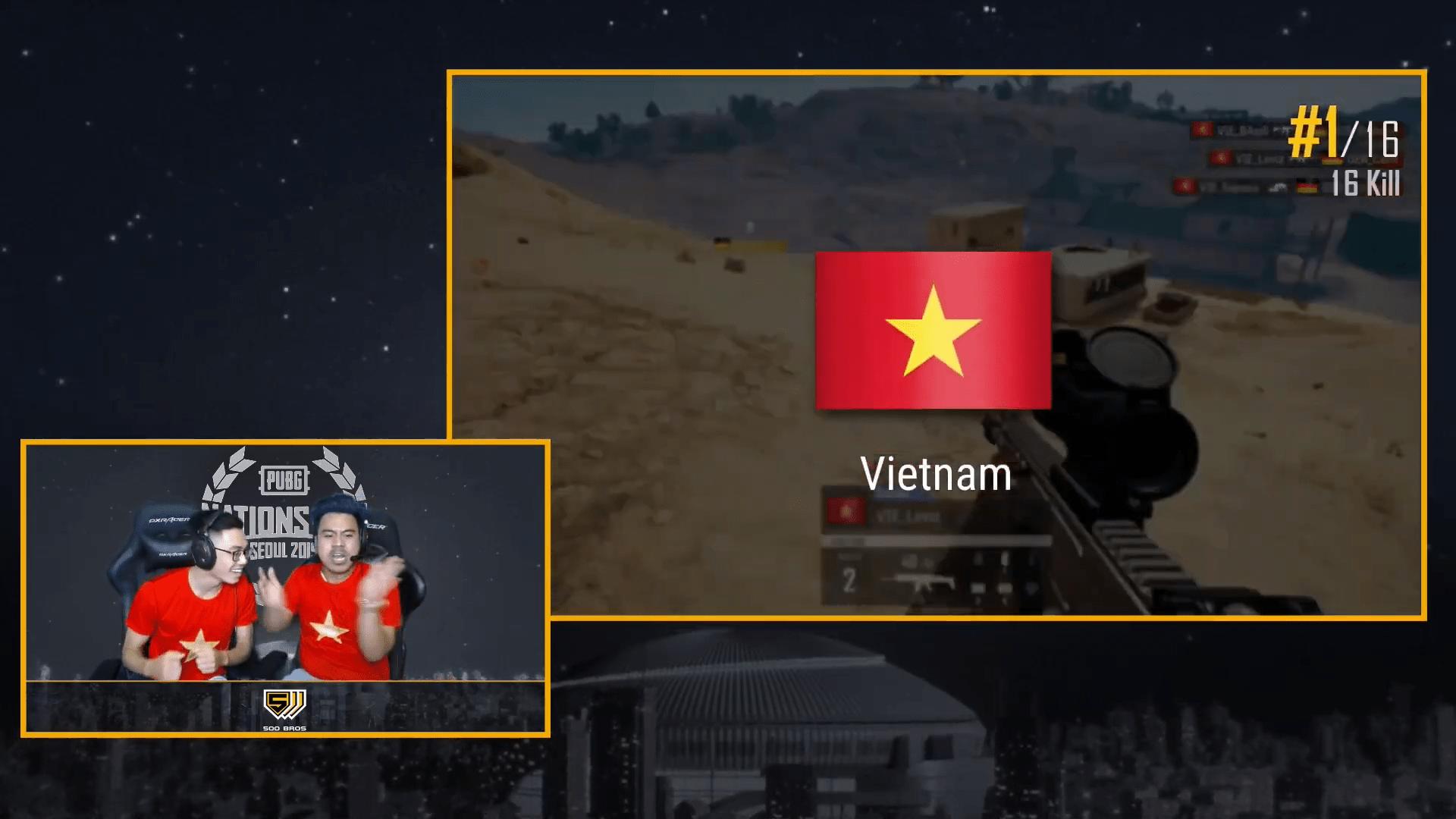 [PUBG] Đội tuyển Việt Nam giành top 1 ngay trong map đấu đầu tiên tại PUBG Nations Cup.