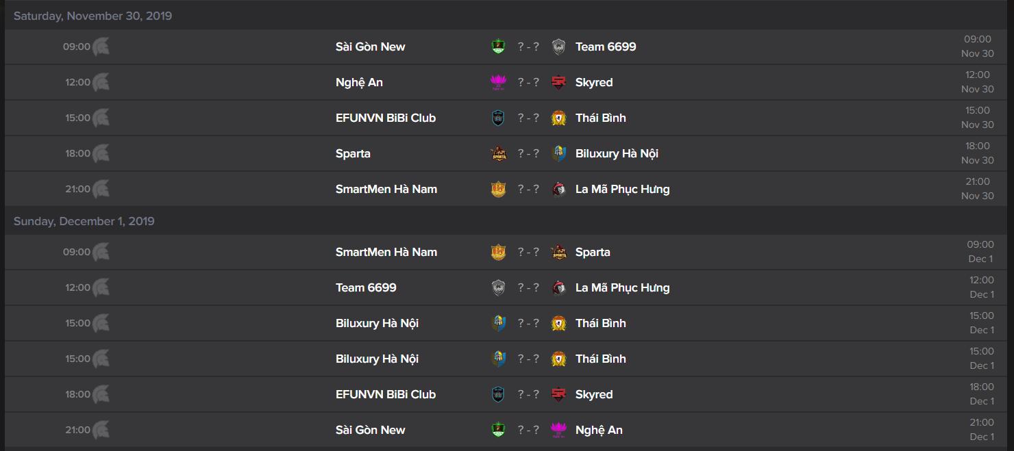 Lịch thi đấu vòng 7 và 8