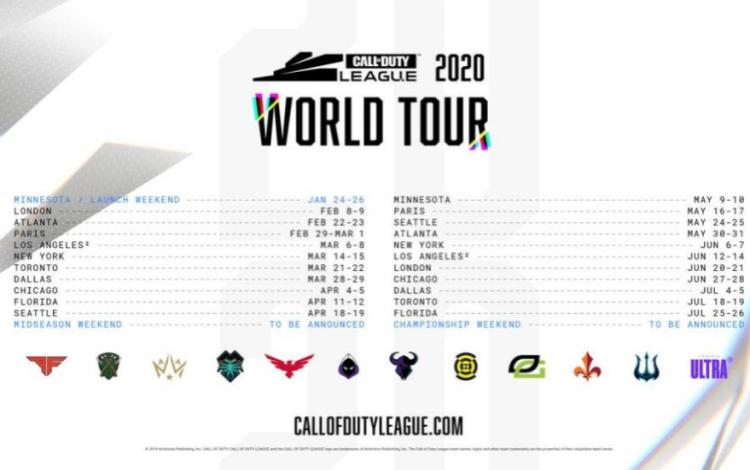The Call of Duty League World Tour sẽ ra mắt tại Minnesota và đi khắp châu Âu và Bắc Mỹ.