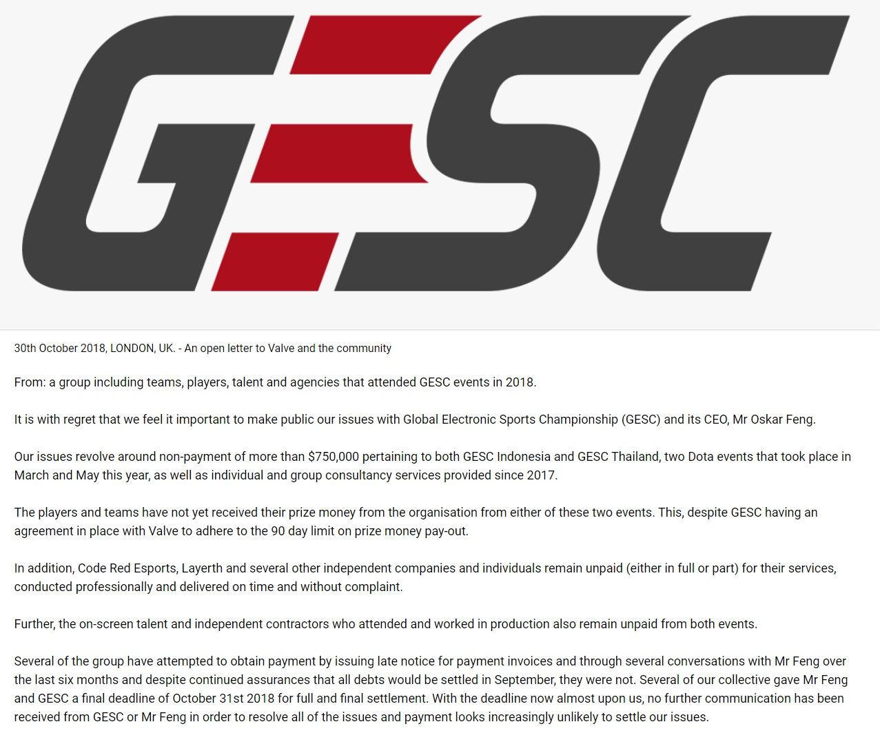 gesc letter - Valve khởi kiện tổ chức eSports Singapore bởi cáo buộc nợ 750.000$
