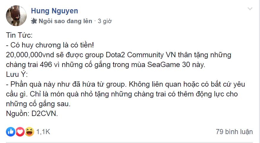 hung nguyen status - 496 Gaming được người hâm mộ thưởng nóng 20 triệu đồng sau chiếc huy chương đồng lịch sử