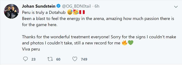 notail tweet - Sau Topson, thủ lĩnh của team OG cũng gục ngã tại Showmatch ở Peru