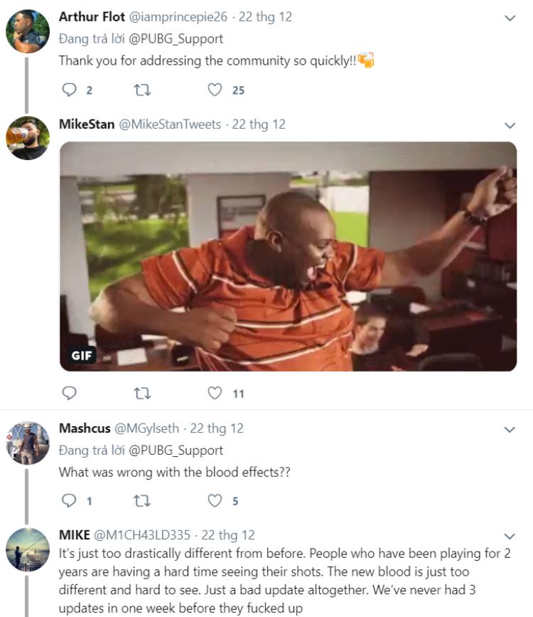 phản hồi từ cộng đồng xau bản cập nhật của Pubg
