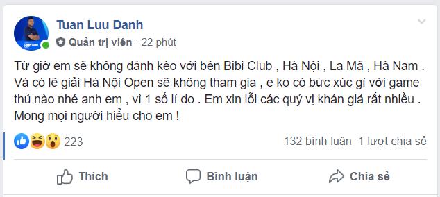 HeHe đăng tải thông tin về việc anh sẽ không tham dự giải đấu AoE EFUNVN Hà Nội Open 8 Championship