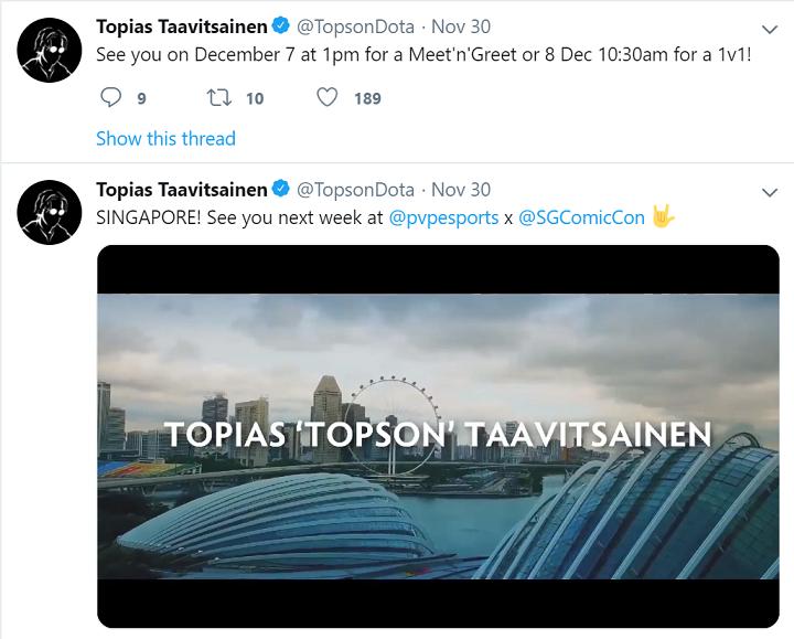 topson comicon - Nhà vô địch TI9 thất bại ở trận đấu 1vs1 với người hâm mộ tại Singapore