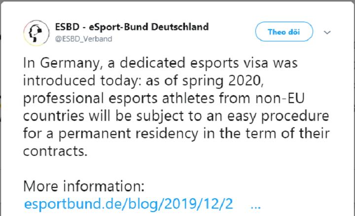 visa 3 - Chính phủ Đức cấp visa cho các player eSports không thuộc EU