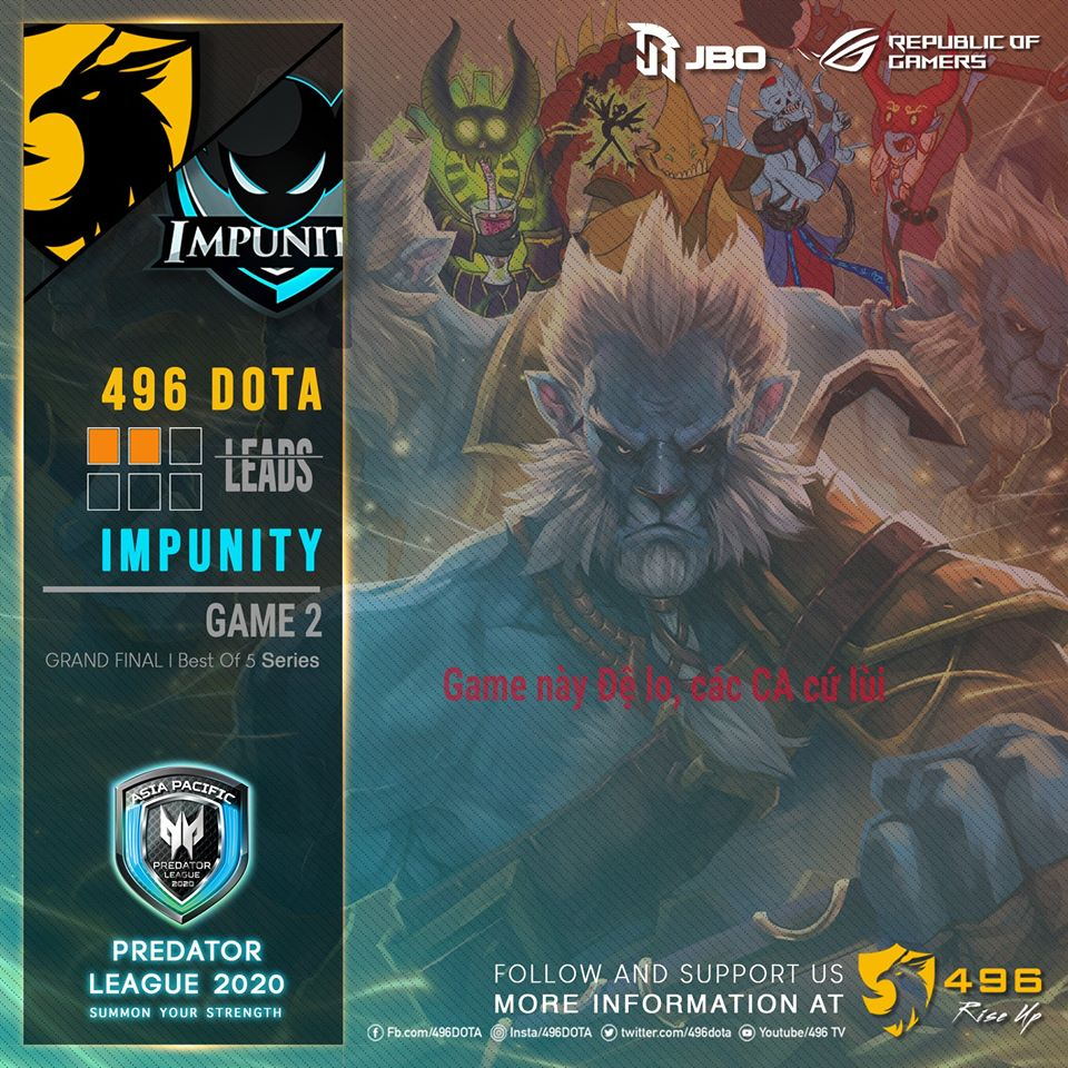 496 2 0 impunity - Chung kết Predator League 2020 khu vực Việt Nam: Ngôi vương gọi tên 496 Gaming