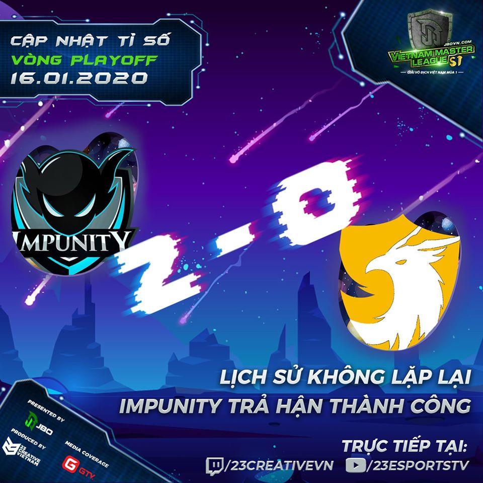 496 lost g2 impunity - Vòng Playoff Vietnam Master League Season 1: 496 nếm mùi thất bại đầu tiên của năm 2020