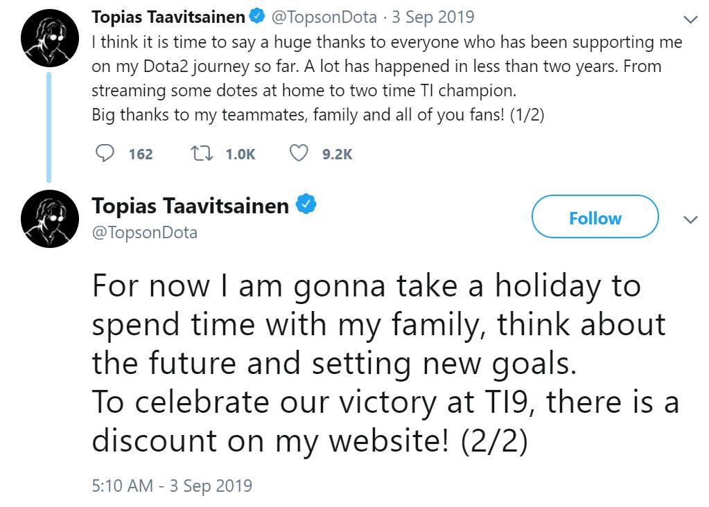 topson tweet - Tin đồn: MidOne gia nhập team OG?