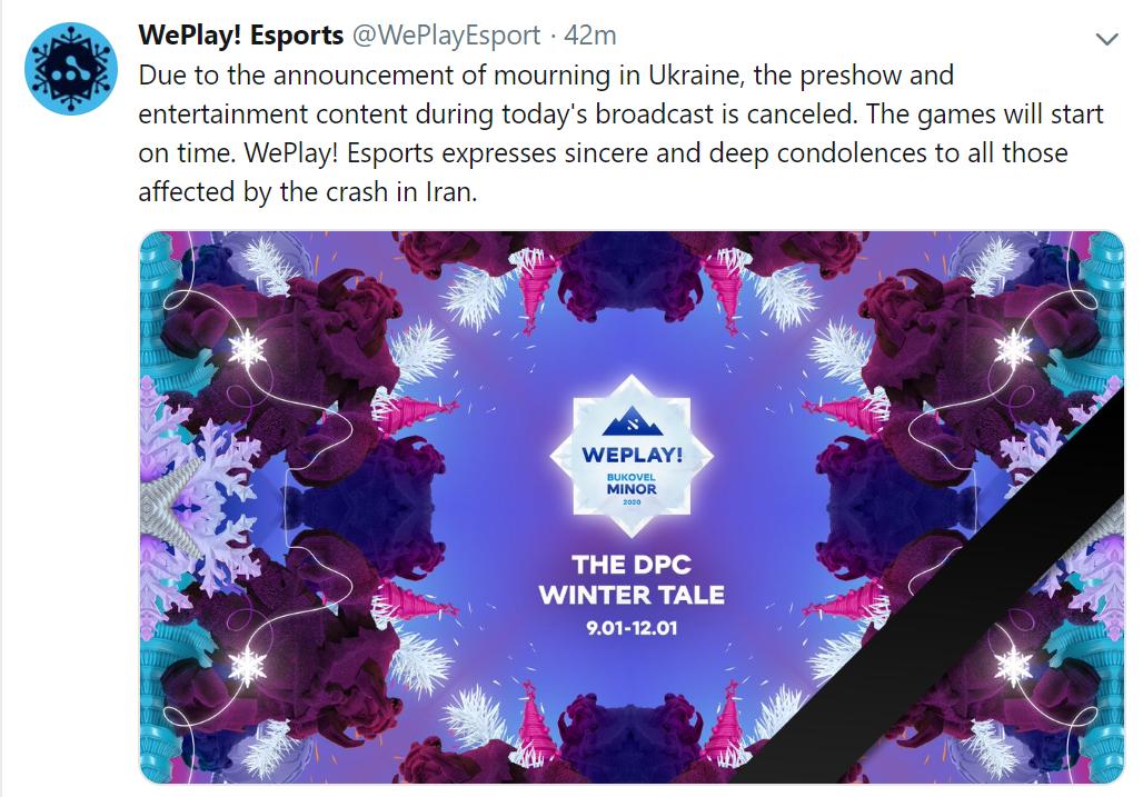 weplay tweet - Buổi lễ khai mạc của Bukovel Minor bị hủy bỏ bởi quốc tang tại Ukraine