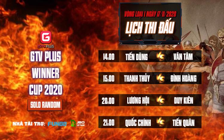 Lịch thi đấu Vòng loại I Giải đấu AOE I GTV Plus Winners Cup 2020