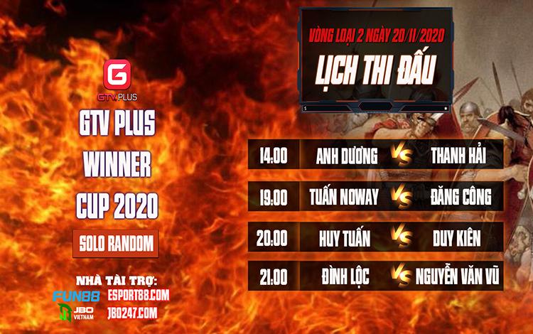 Kết quả và lịch thi đấu ngày thi đấu ngày 20 tháng 11 Giải đấu AOE I GTV Plus Winners Cup 2020