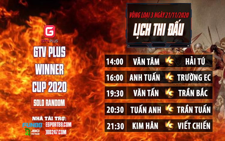 Kết quả và lịch thi đấu ngày thi đấu ngày 21 tháng 11 Giải đấu AOE I GTV Plus Winners Cup 2020