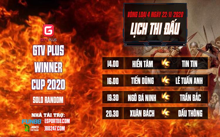Kết quả và lịch thi đấu ngày thi đấu ngày 22 tháng 11 Giải đấu AOE I GTV Plus Winners Cup 2020