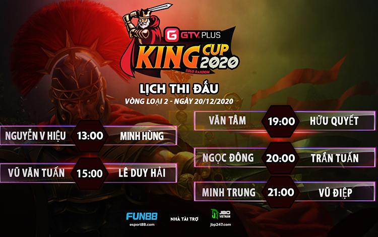 Kết quả và lịch thi đấu ngày thi đấu ngày 20 tháng 12 Giải đấu GTV Plus King Cup 2020