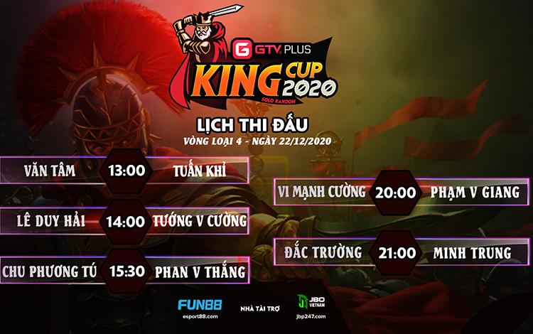 Kết quả và lịch thi đấu ngày thi đấu ngày 22 tháng 12 Giải đấu GTV Plus King Cup 2020