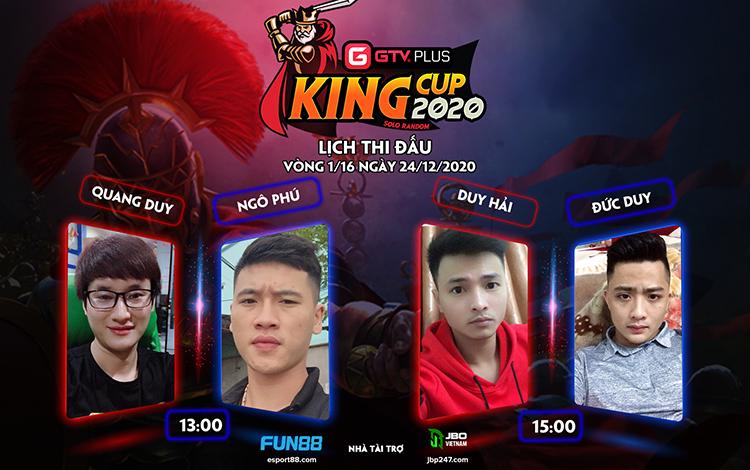 Lịch thi đấu ngày thi đấu ngày 24 tháng 12 Giải đấu GTV Plus King Cup 2020