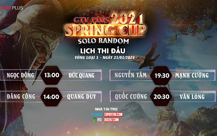Lịch thi đấu ngày thi đấu ngày 21 tháng 1 Giải đấu GTV Plus Spring Cup 2021