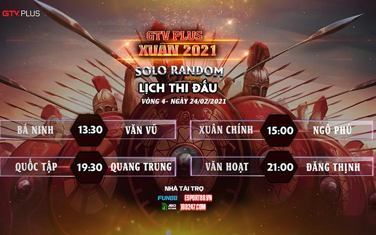 Kết quả và lịch thi đấu ngày thi đấu 24/2 giải đấu GTV Plus Chào Xuân 2021