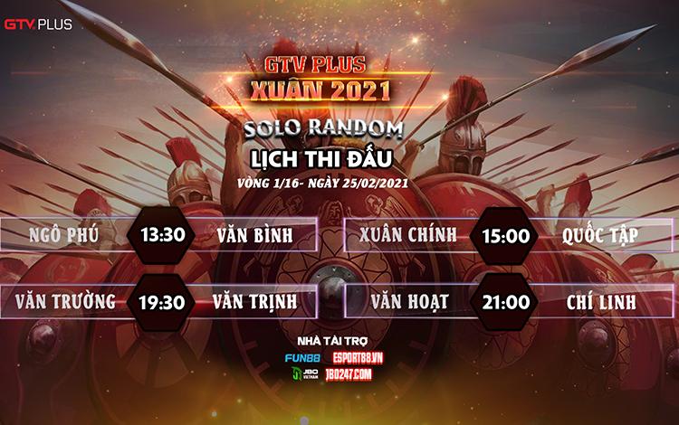 Kết quả và lịch thi đấu ngày thi đấu 25/2 giải đấu GTV Plus Chào Xuân 2021