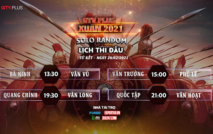 Kết quả và lịch thi đấu ngày thi đấu 26/2 giải đấu GTV Plus Chào Xuân 2021