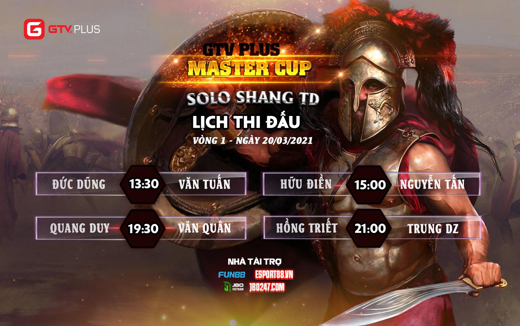 Lịch thi đấu ngày thi đấu ngày 20 tháng 3 Giải đấu GTV Plus Master Cup 2021