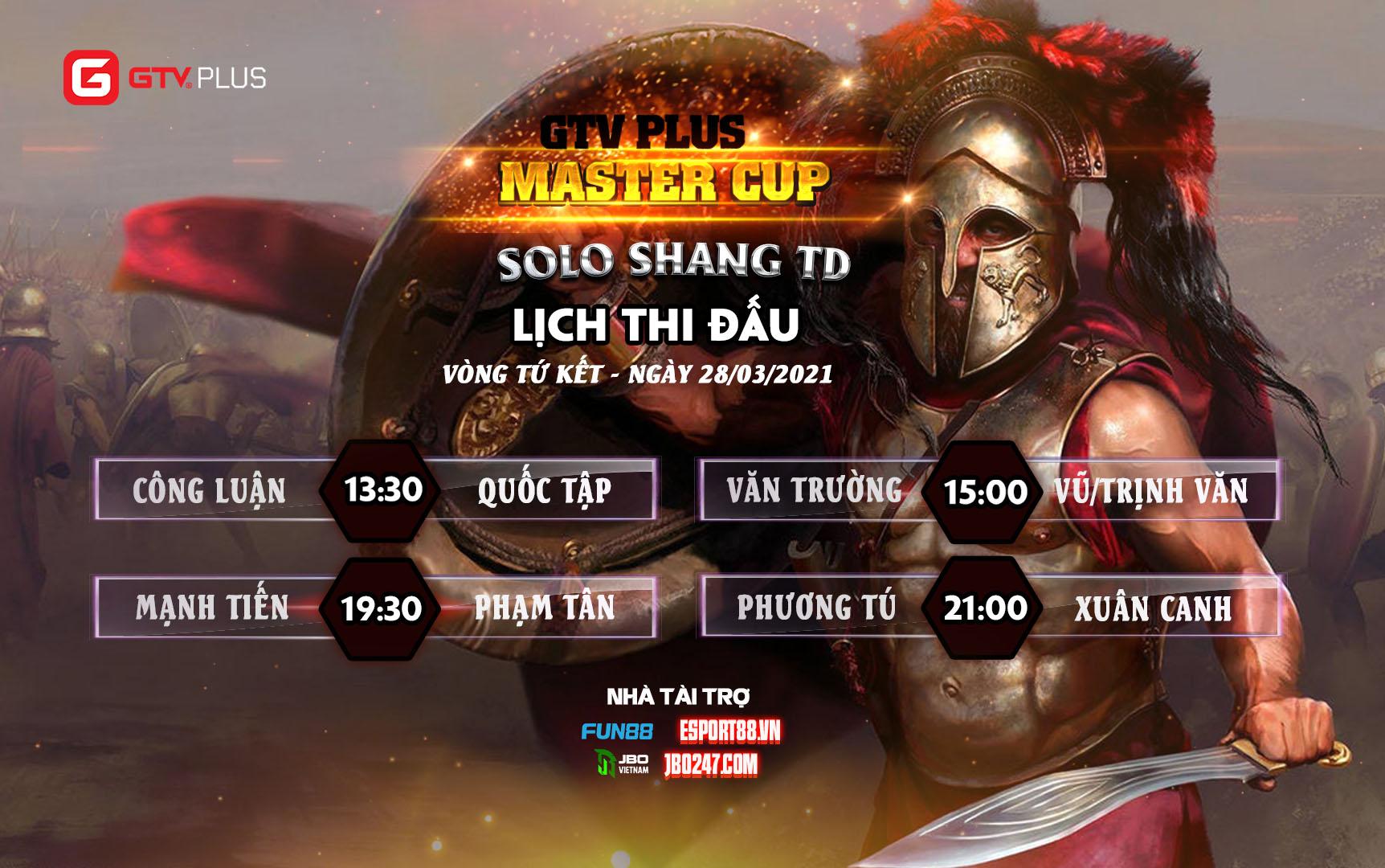 Lịch thi đấu ngày thi đấu ngày 28 tháng 3 Giải đấu GTV Plus Master Cup 2021