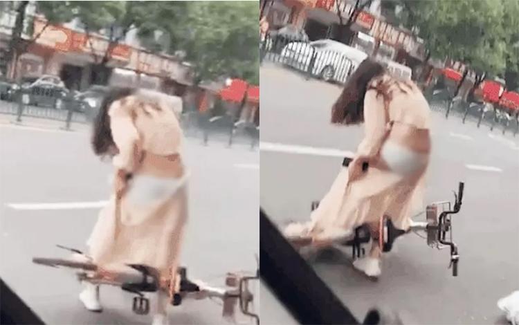 """Xe đạp phản chủ, cô nàng xui xẻo lộ vòng 3 gợi cảm giữa """"thanh thiên bạch nhật"""""""