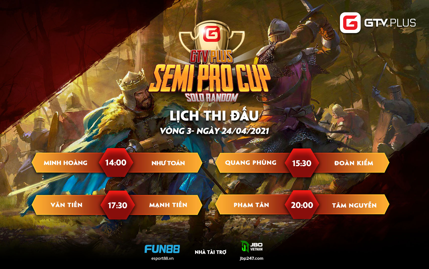 Lịch thi đấu ngày thi đấu ngày 24 tháng 4 Giải đấu GTV Semi Pro Cup 2021