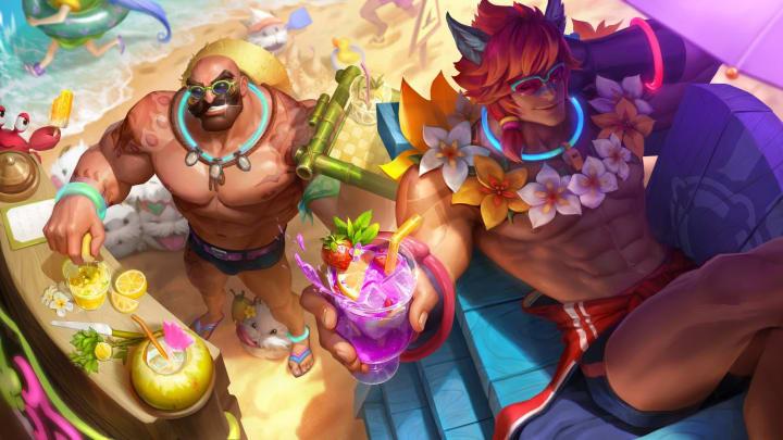 Riot Games quyết định trao tặng trang phục Tiệc Bể Bơi cho 2 tướng cơ bắp