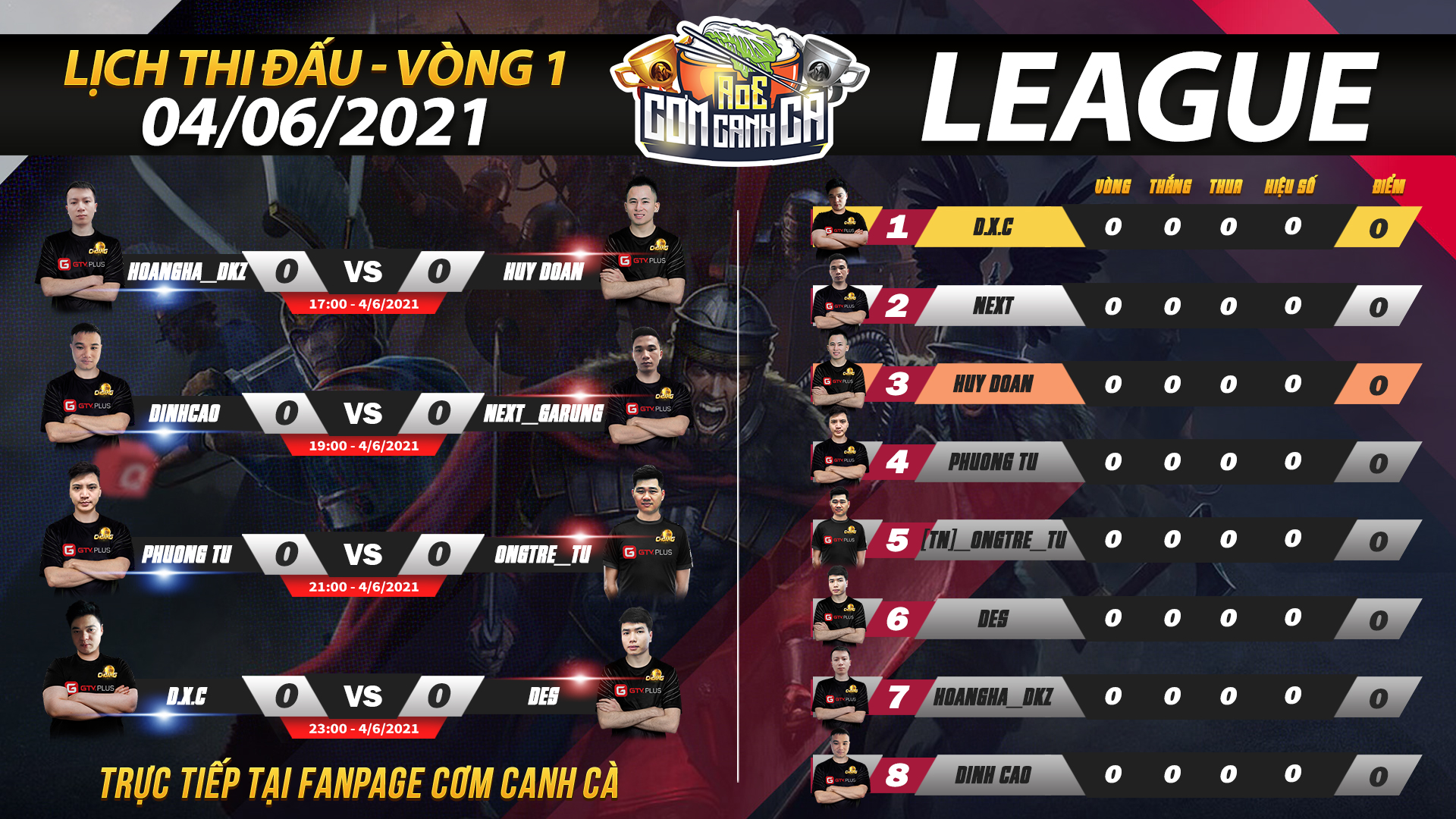 Lịch thi đấu AoE Cơm Canh Cà ngày 4 tháng 6: Vòng League bắt đầu