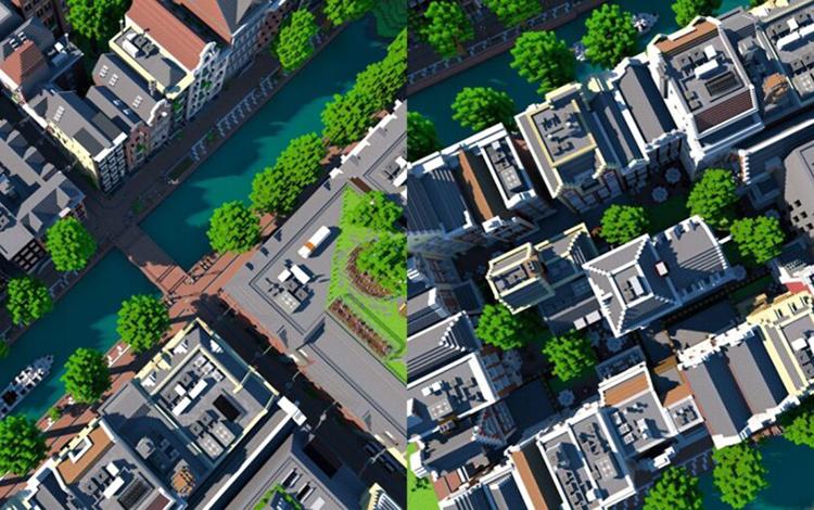 Thành phố Amsterdam được game thủ xây dựng kỳ công trong Minecraft