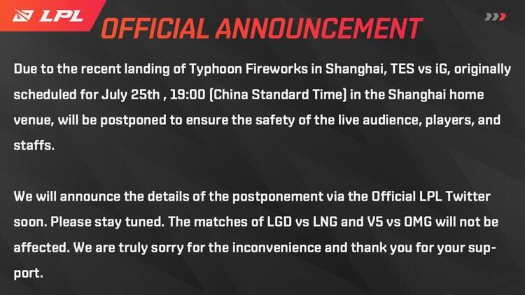 Kết quả LMHT LPL Mùa hè 2021 ngày 25/7: TES vs IG bị hoãn do ảnh hưởng của bão