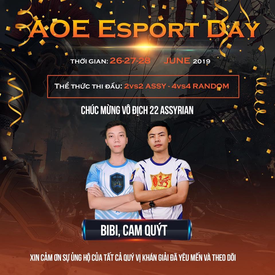 [AoE] Cam Quýt – BiBi lên ngôi vô địch nội dung 2vs2 Assyrian giải đấu AoE Esport Day