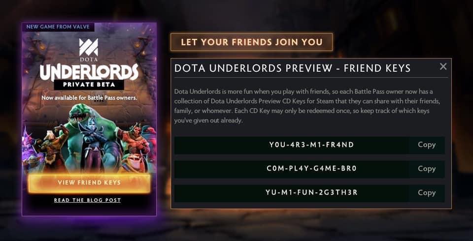 [Dota Underlords] Valve tiếp tục làm nức lòng cộng đồng game với Friends Keys