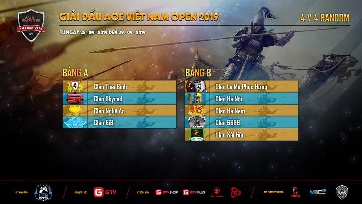 AoE Việt Nam Open 2019: Công bố danh sách bảng đấu các nội dung