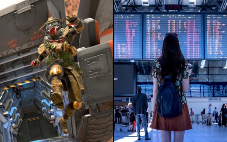 """""""Cạn lời"""" với một player Apex Legends khi sử dụng màn hình tại sân bay để chơi game trong lúc chờ đợi"""