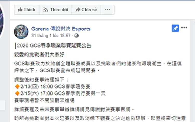 Giải đấu Liên Quân Mobile Đài Loan bị tạm hoãn vì đại dịch Corona
