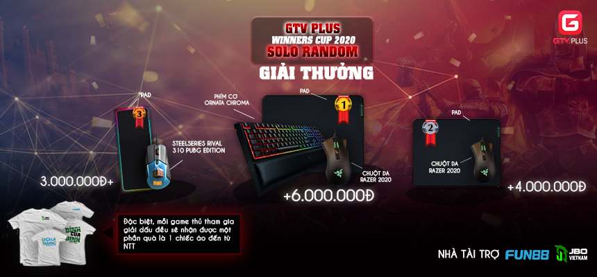 Giải đấu GTV Plus Winners Cup 2020 - Giải thưởng khủng lên đến 20.000.000 VNĐ